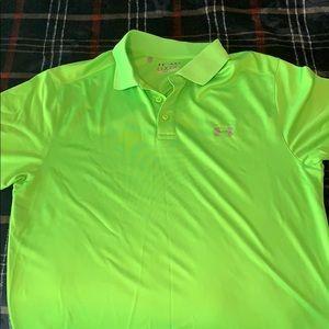 Bright green Under Armour golf polo
